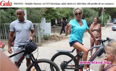 Бриджит Макрон впечатли със стегнати бедра по време на велопоход
