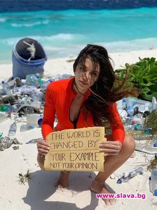 От Малдивите: Диляна Попова иска плажове без пластмаса
