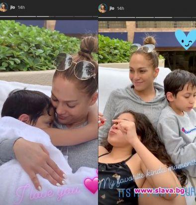 Дженифър Лопес сияе без грим и с децата си